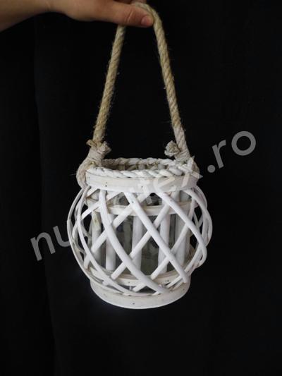 Felinar decorativ din lemn alb