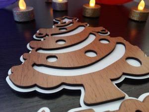 Decoratiune brad Craciun lemn
