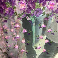Organza brodata cu flori la metru