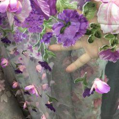 Organza brodata cu flori