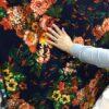 Tricot cu flori imprimate pret la metru