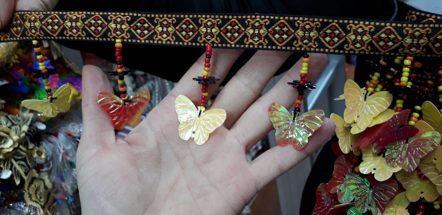 Banda textila cu fluturi
