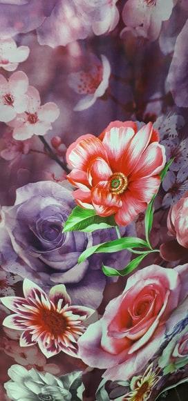 Tafta satinata cu flori