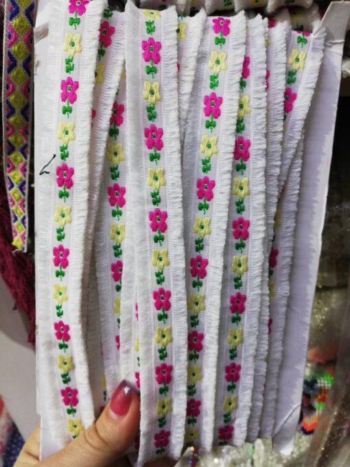 Banda brodata flori colorate